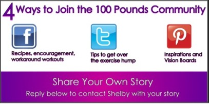 4 Ways to Join the 100 Pounds Community: Facebook, Twitter, Pinterest, or submit your guest poset