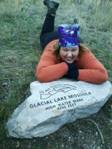 Me at 4,200 feet marker above Missoula detailing the Glacier Lake Missoula high water mark