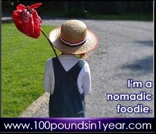 """""""I'm a nomadic foodie,"""" from 100poundsin1year.com"""